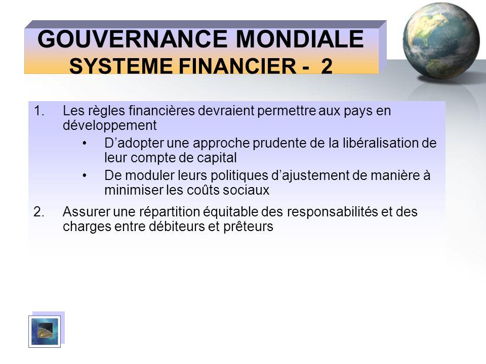 GOUVERNANCE MONDIALE SYSTEME FINANCIER - 2