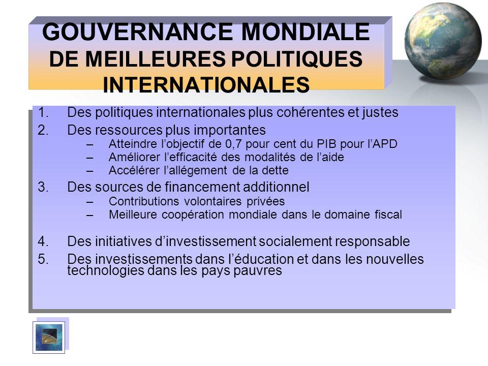GOUVERNANCE MONDIALE DE MEILLEURES POLITIQUES INTERNATIONALES