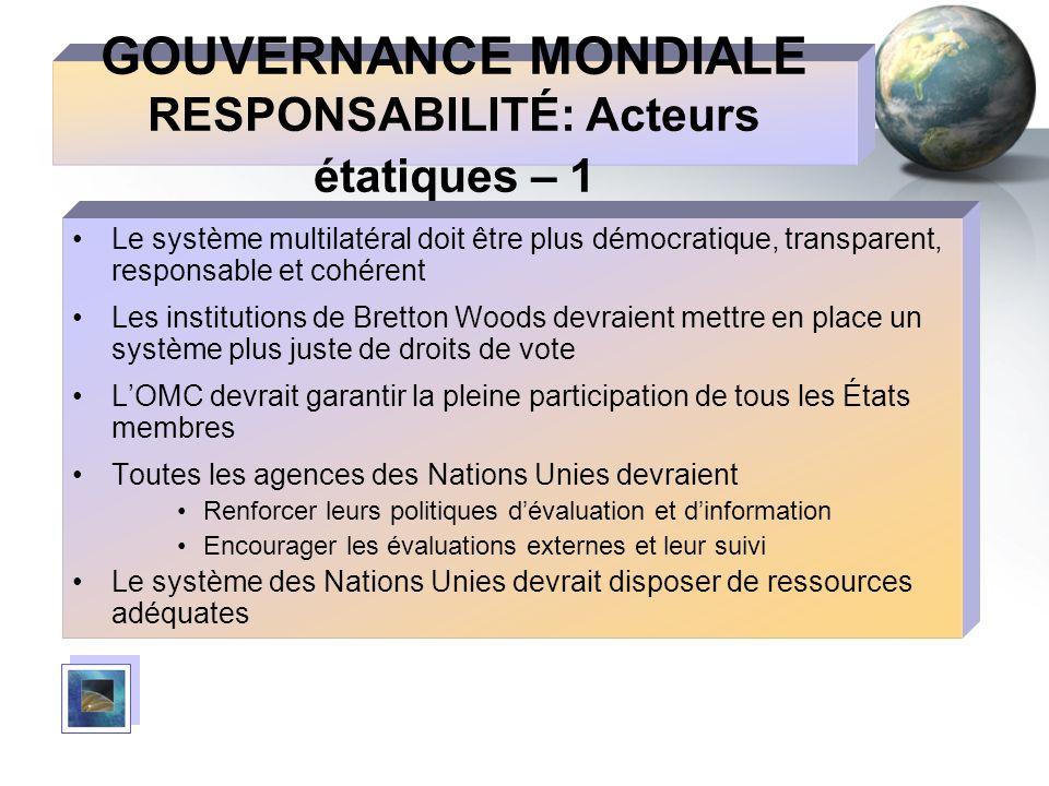GOUVERNANCE MONDIALE RESPONSABILITÉ: Acteurs étatiques – 1