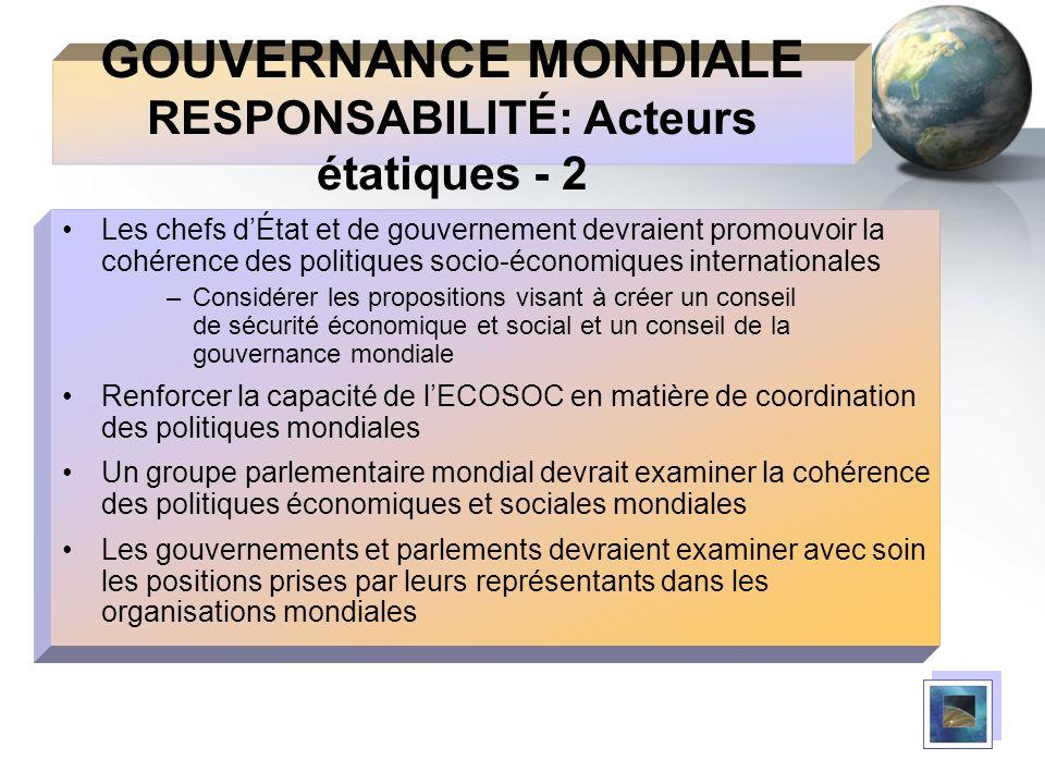 GOUVERNANCE MONDIALE RESPONSABILITÉ: Acteurs étatiques - 2