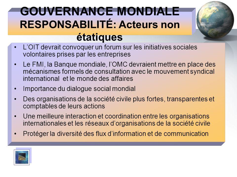GOUVERNANCE MONDIALE RESPONSABILITÉ: Acteurs non étatiques