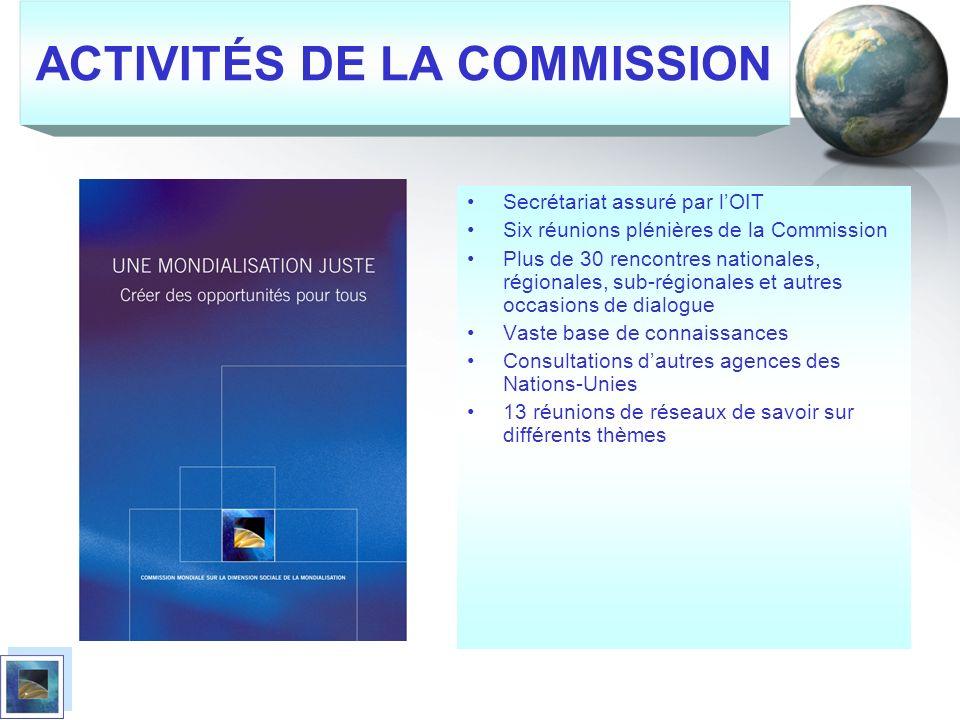 ACTIVITÉS DE LA COMMISSION