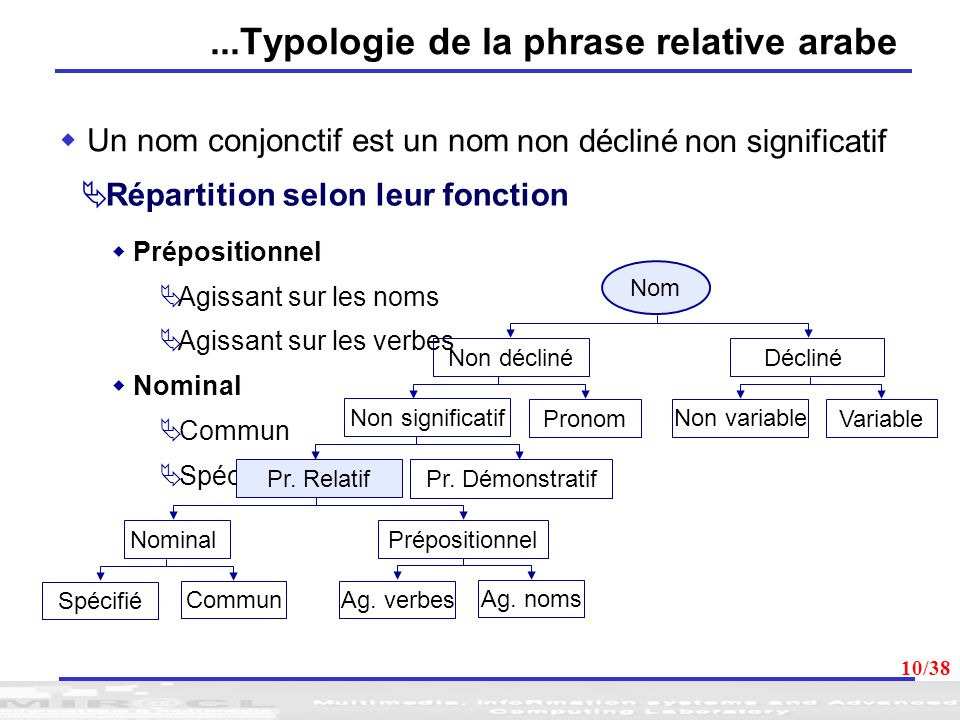 ...Typologie de la phrase relative arabe