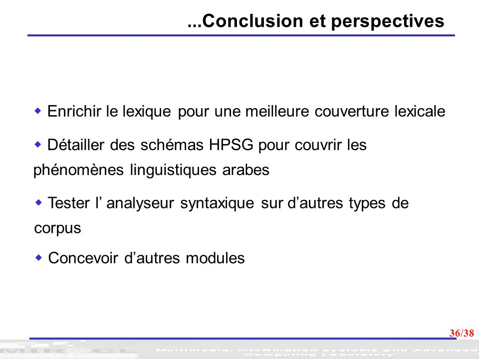 ...Conclusion et perspectives