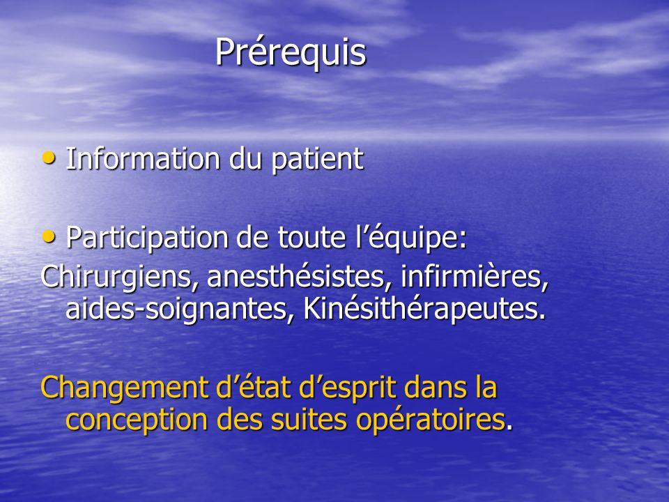 Prérequis Information du patient Participation de toute l'équipe: