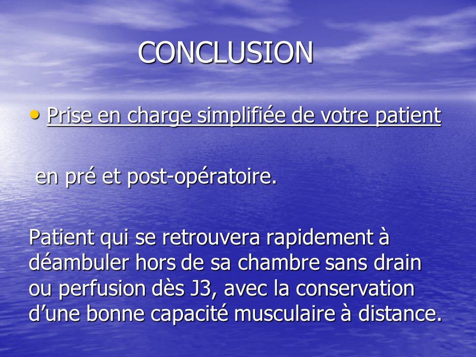 CONCLUSION Prise en charge simplifiée de votre patient