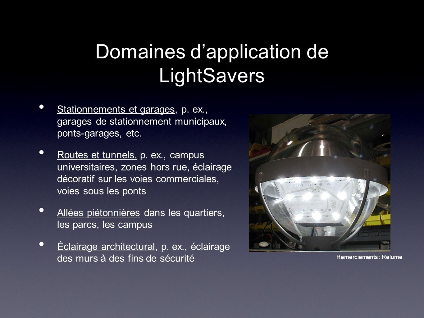 Domaines d'application de LightSavers