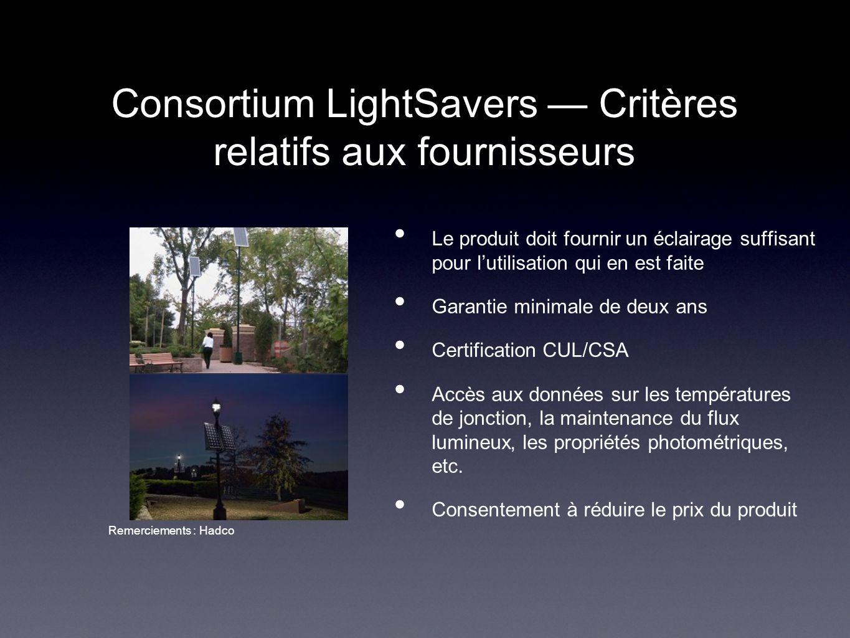 Consortium LightSavers — Critères relatifs aux fournisseurs