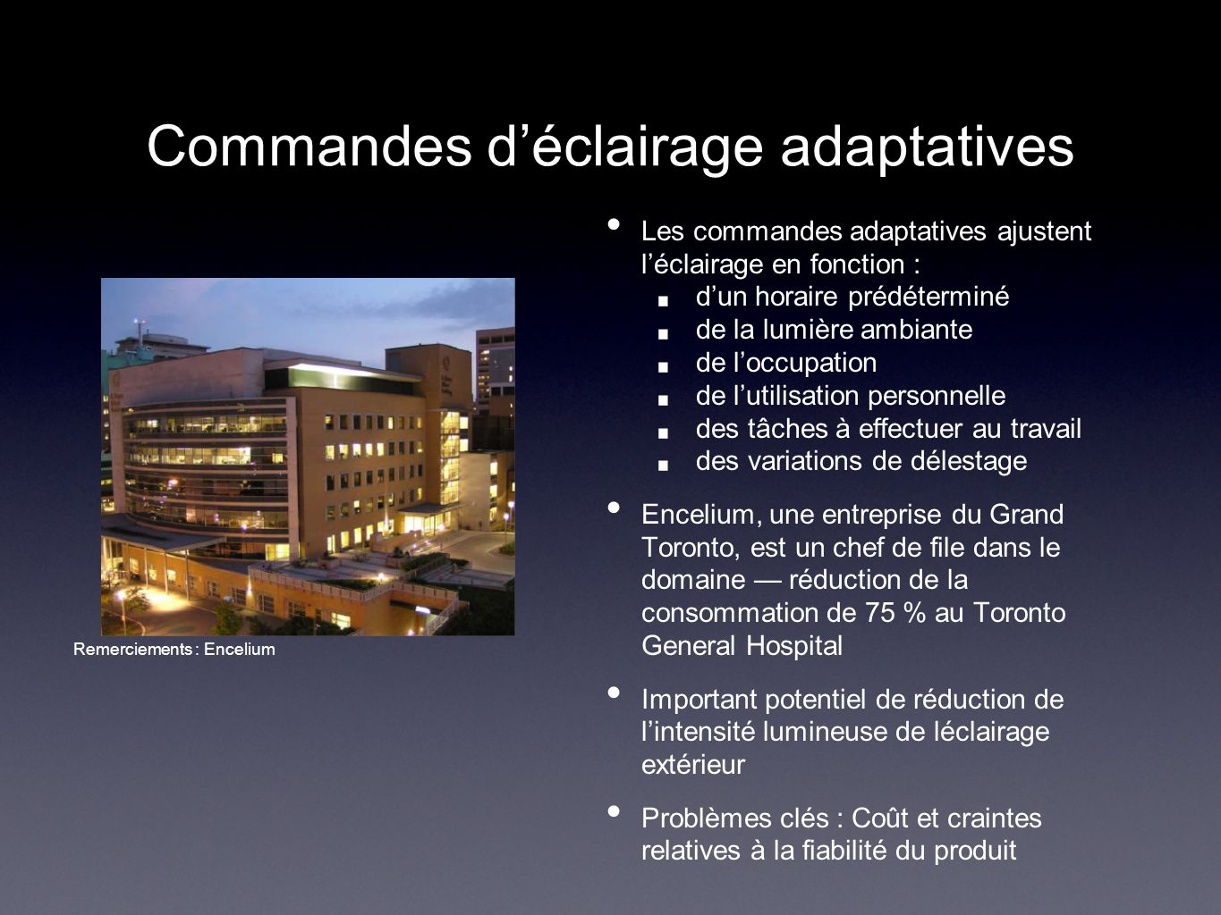 Commandes d'éclairage adaptatives