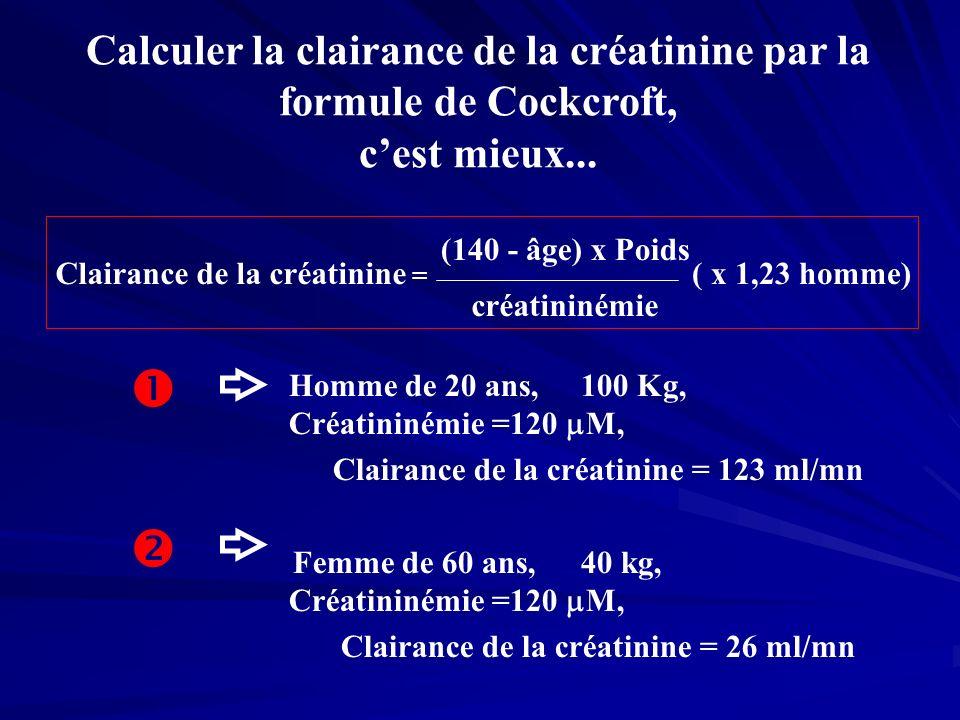Calculer la clairance de la créatinine par la formule de Cockcroft, c'est mieux...