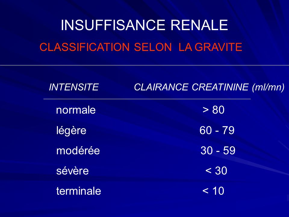 CLASSIFICATION SELON LA GRAVITE