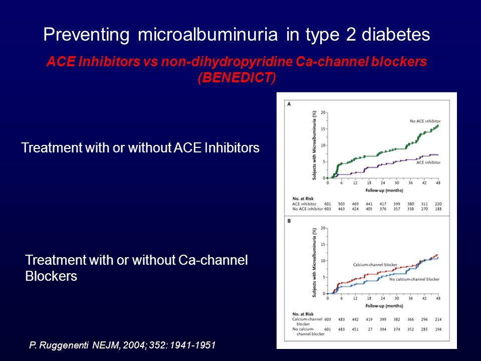 ACE Inhibitors vs non-dihydropyridine Ca-channel blockers (BENEDICT)