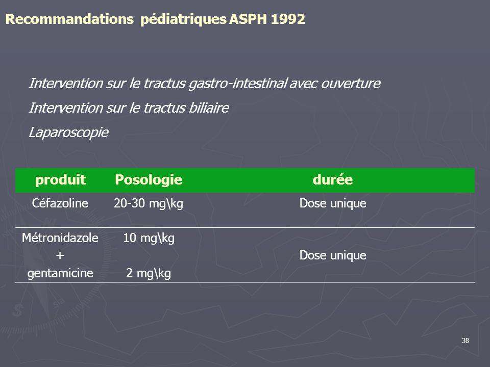Recommandations pédiatriques ASPH 1992