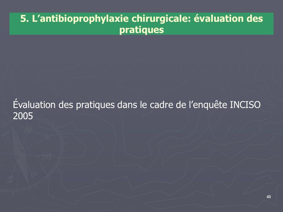 5. L'antibioprophylaxie chirurgicale: évaluation des pratiques