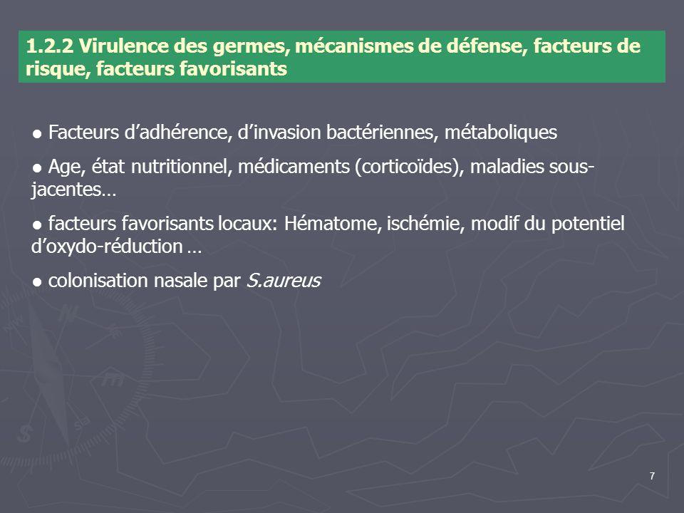 1.2.2 Virulence des germes, mécanismes de défense, facteurs de risque, facteurs favorisants