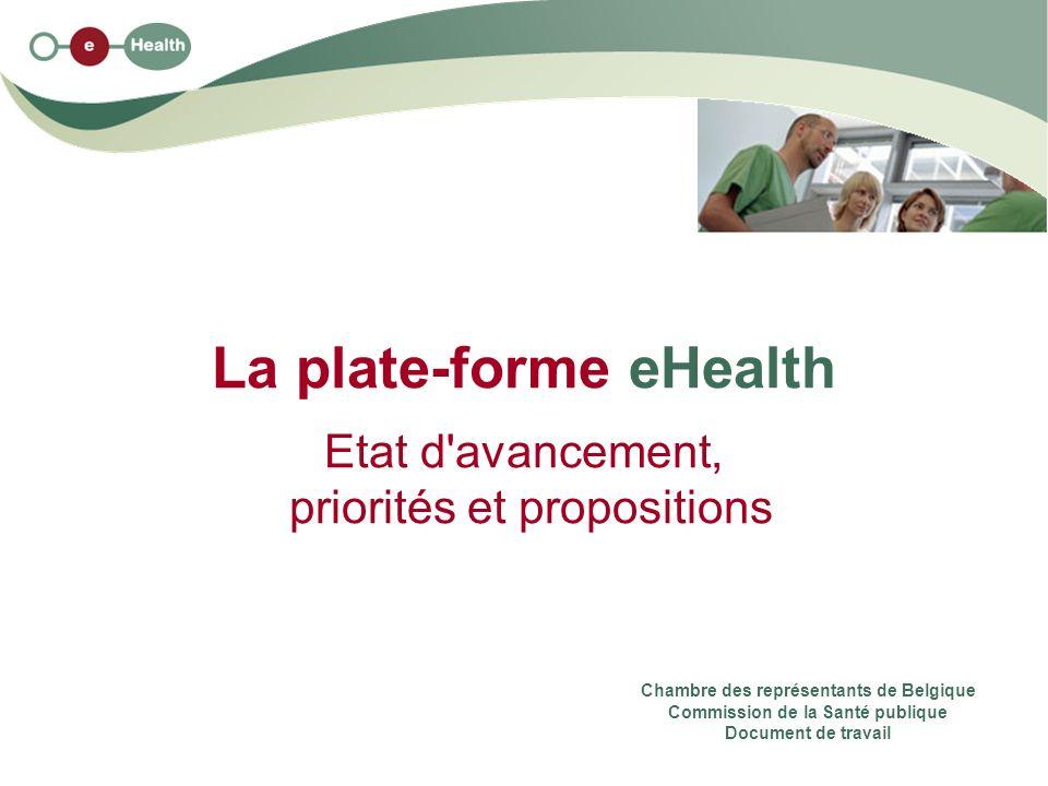 La plate-forme eHealth Etat d avancement, priorités et propositions