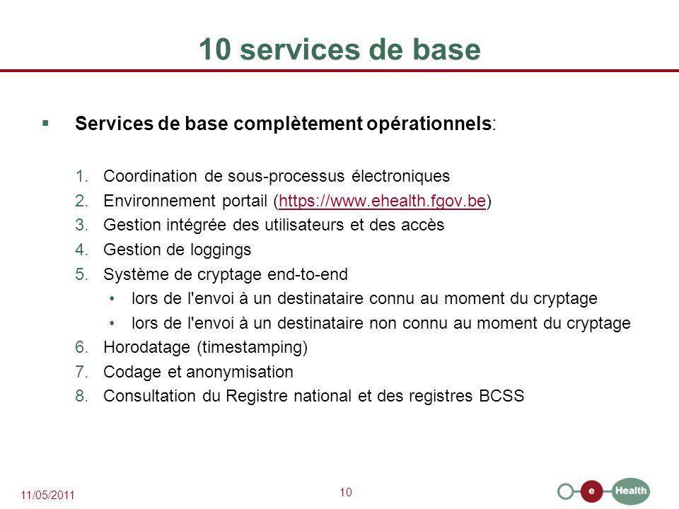 10 services de base Services de base complètement opérationnels: