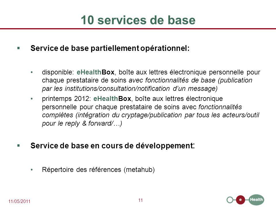 10 services de base Service de base partiellement opérationnel: