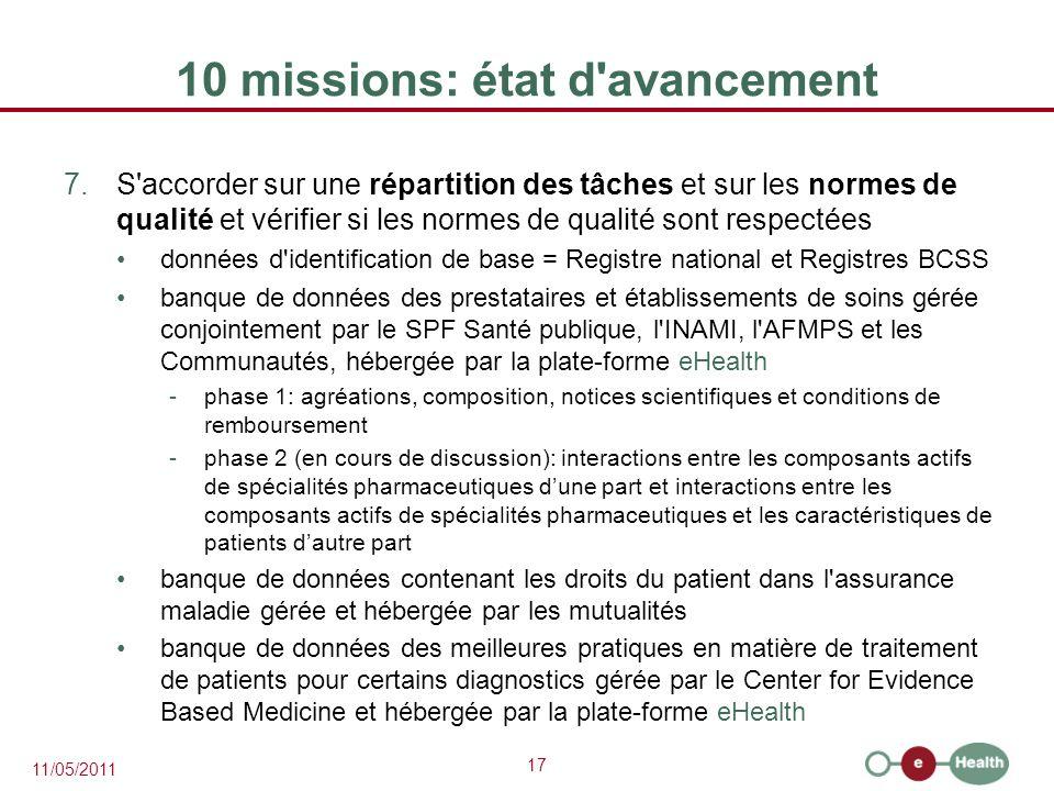 10 missions: état d avancement