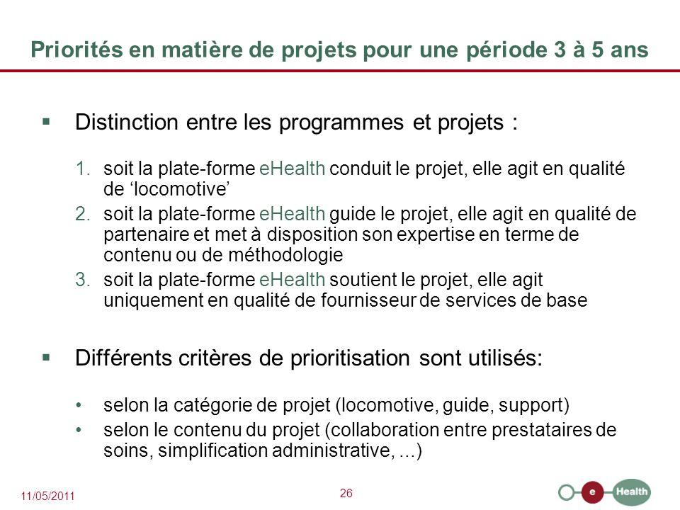 Priorités en matière de projets pour une période 3 à 5 ans