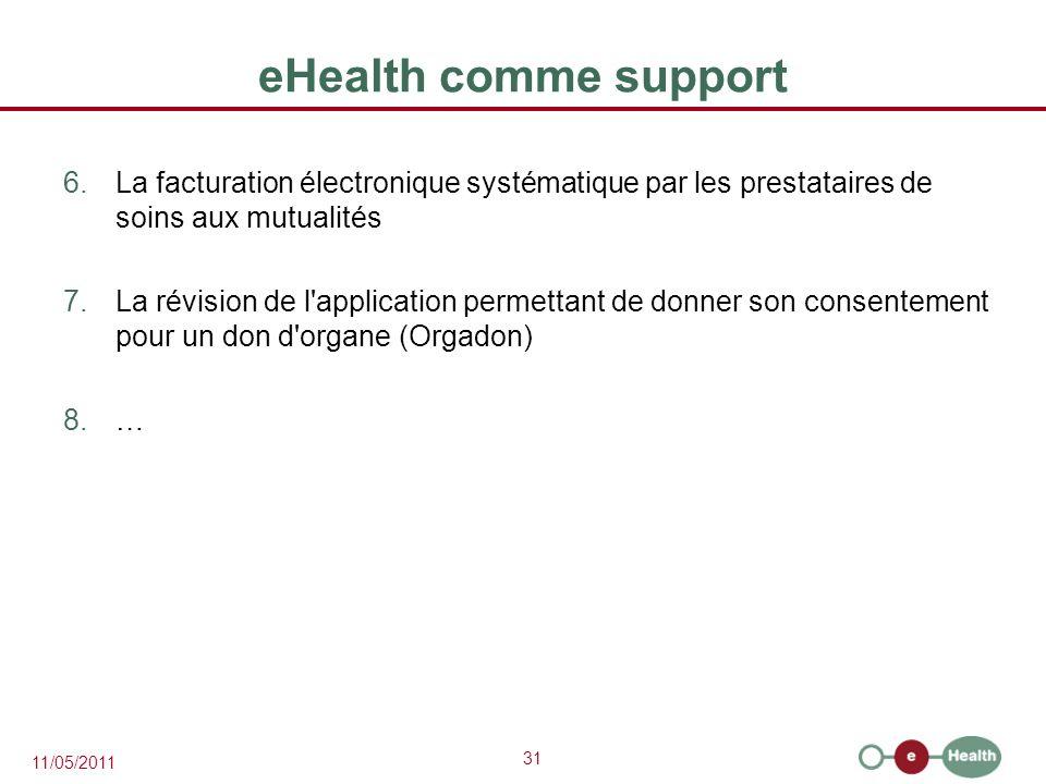eHealth comme support La facturation électronique systématique par les prestataires de soins aux mutualités.