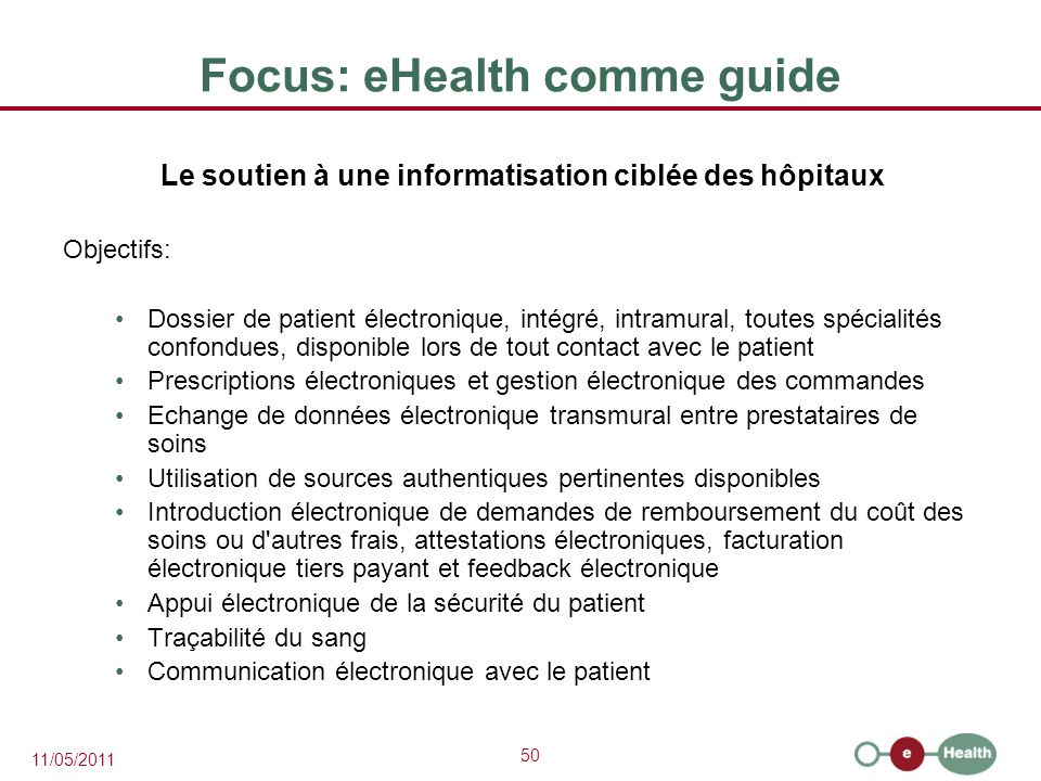 Focus: eHealth comme guide