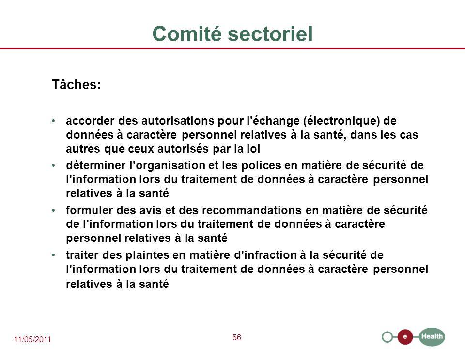 Comité sectoriel Tâches: