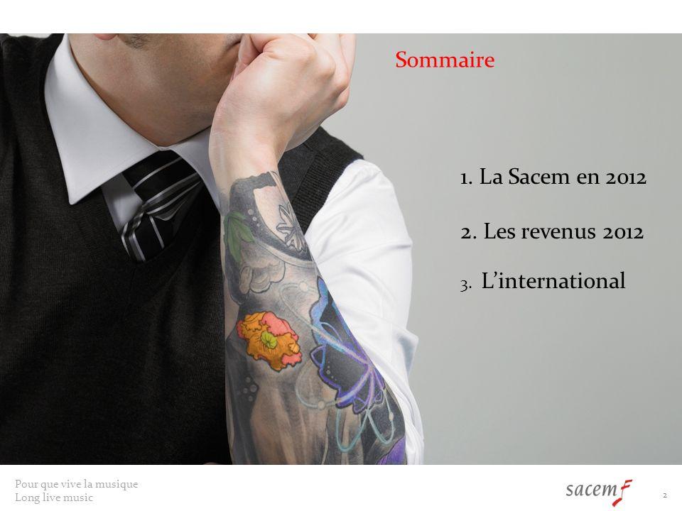 Sommaire 1. La Sacem en 2012 2. Les revenus 2012 3. L'international