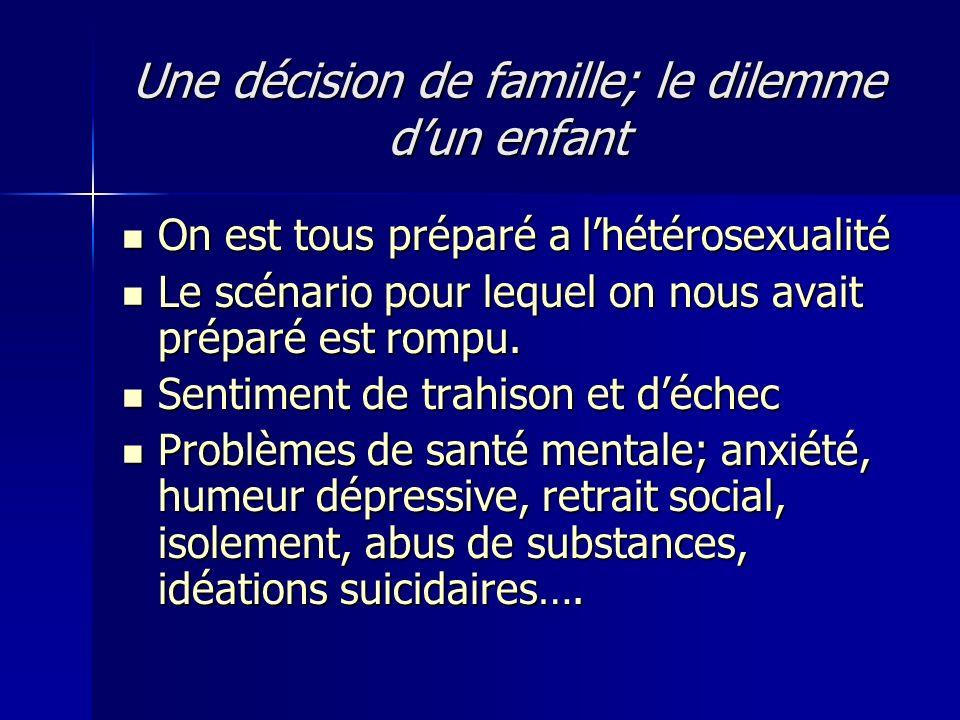Une décision de famille; le dilemme d'un enfant