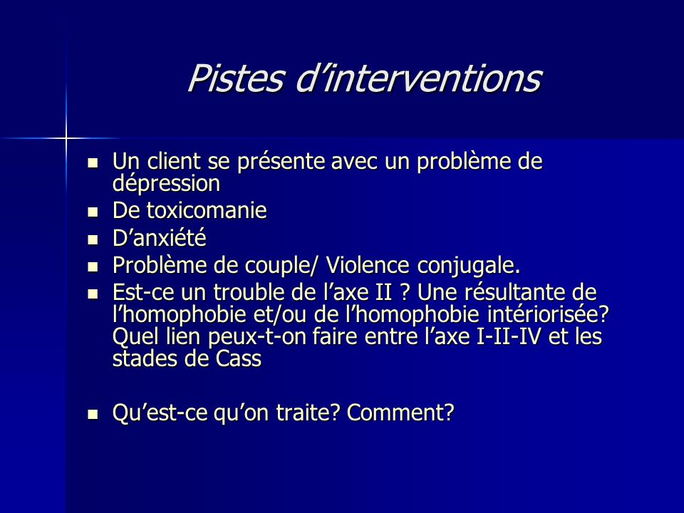 Pistes d'interventions