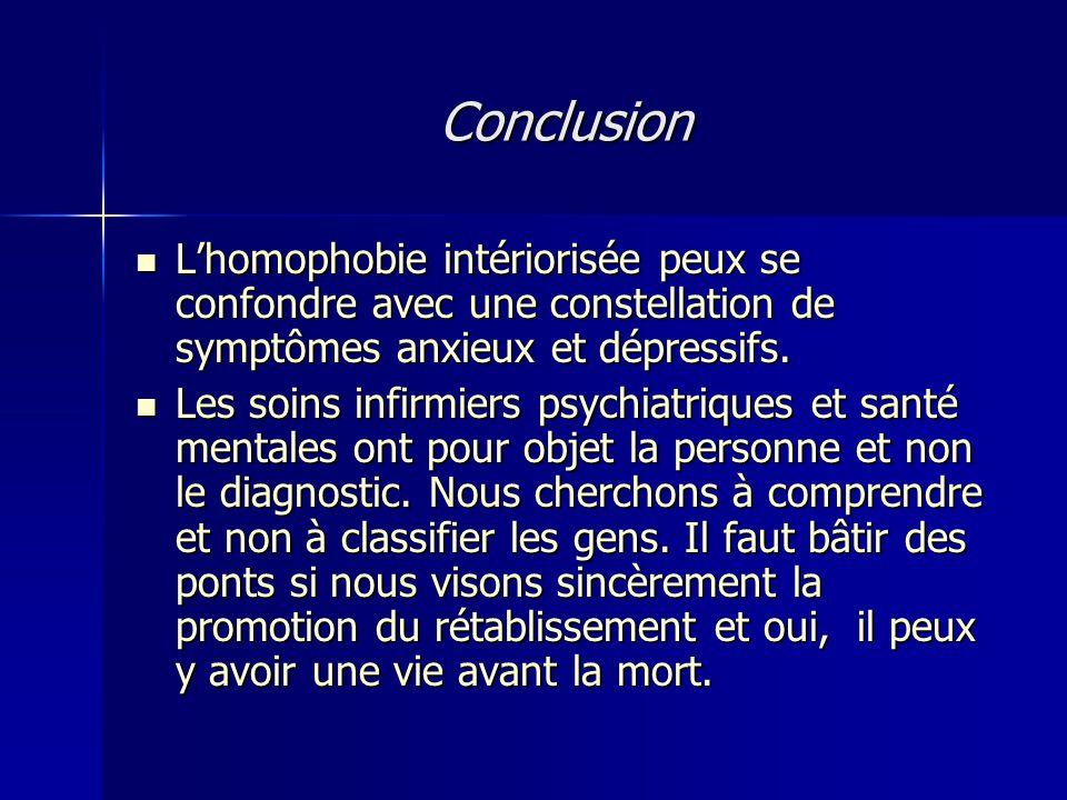 Conclusion L'homophobie intériorisée peux se confondre avec une constellation de symptômes anxieux et dépressifs.