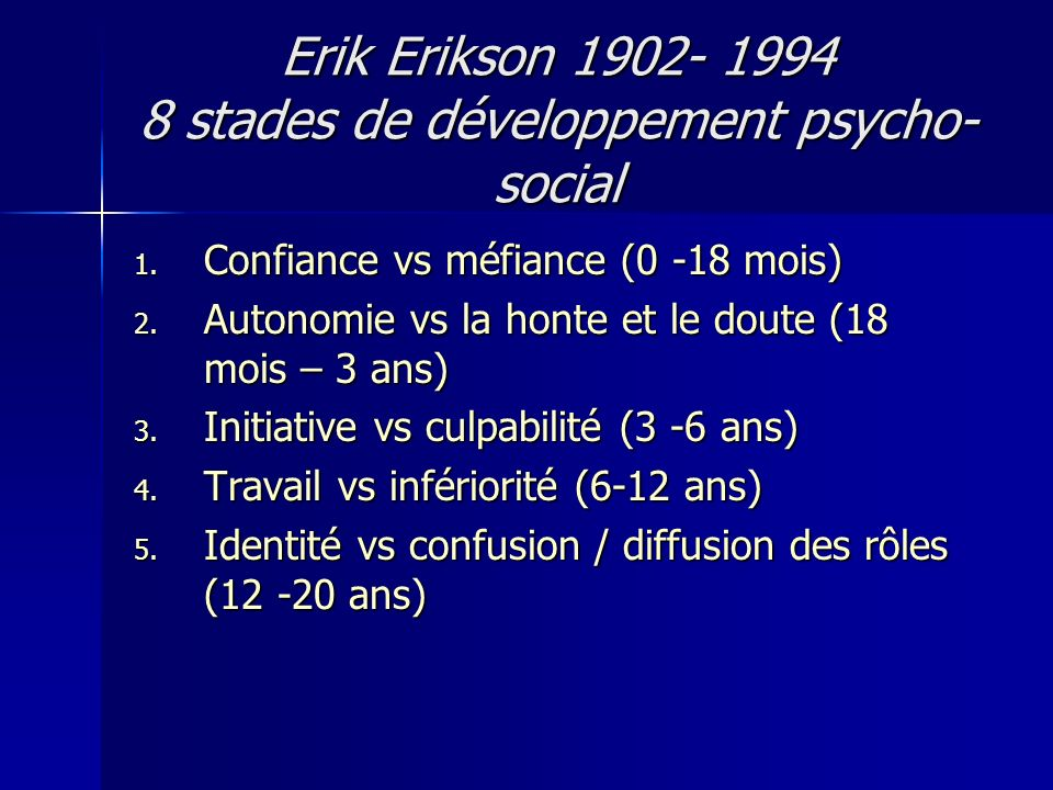 Erik Erikson 1902- 1994 8 stades de développement psycho-social