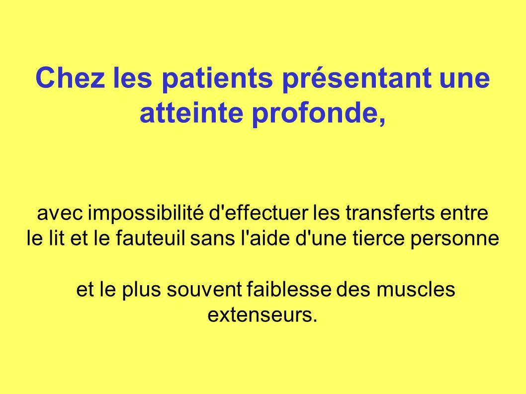 Chez les patients présentant une atteinte profonde, avec impossibilité d effectuer les transferts entre le lit et le fauteuil sans l aide d une tierce personne et le plus souvent faiblesse des muscles extenseurs.