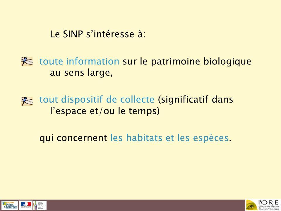 Le SINP s'intéresse à: toute information sur le patrimoine biologique au sens large,