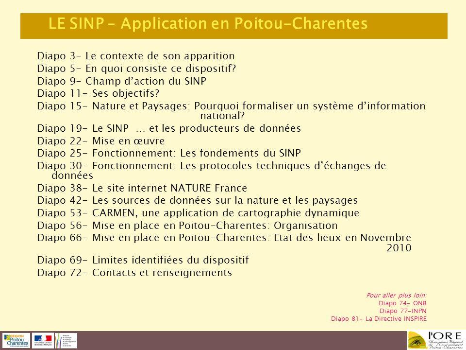 LE SINP – Application en Poitou-Charentes