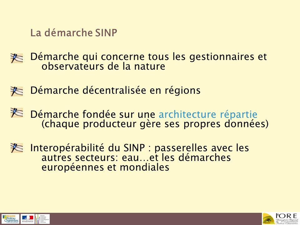 La démarche SINP Démarche qui concerne tous les gestionnaires et observateurs de la nature. Démarche décentralisée en régions.