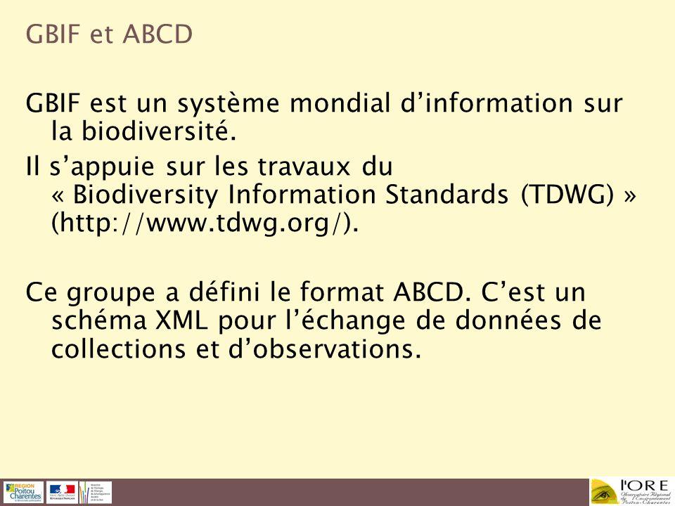 GBIF et ABCD GBIF est un système mondial d'information sur la biodiversité.