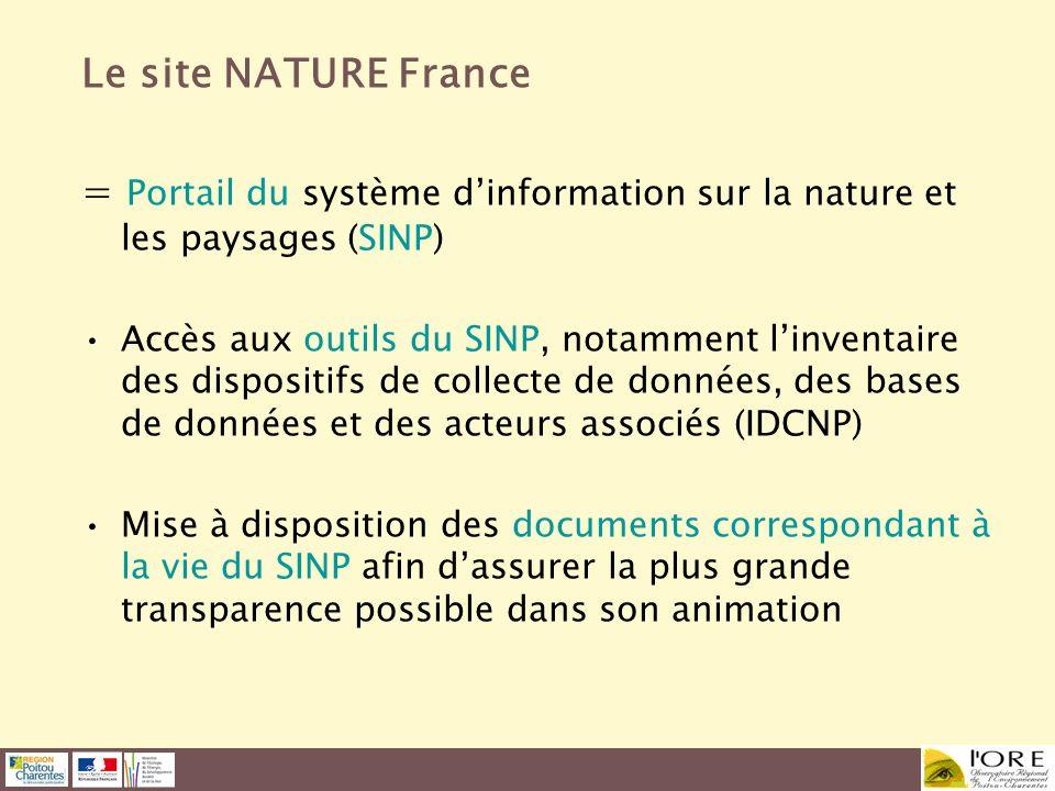 Le site NATURE France = Portail du système d'information sur la nature et les paysages (SINP)