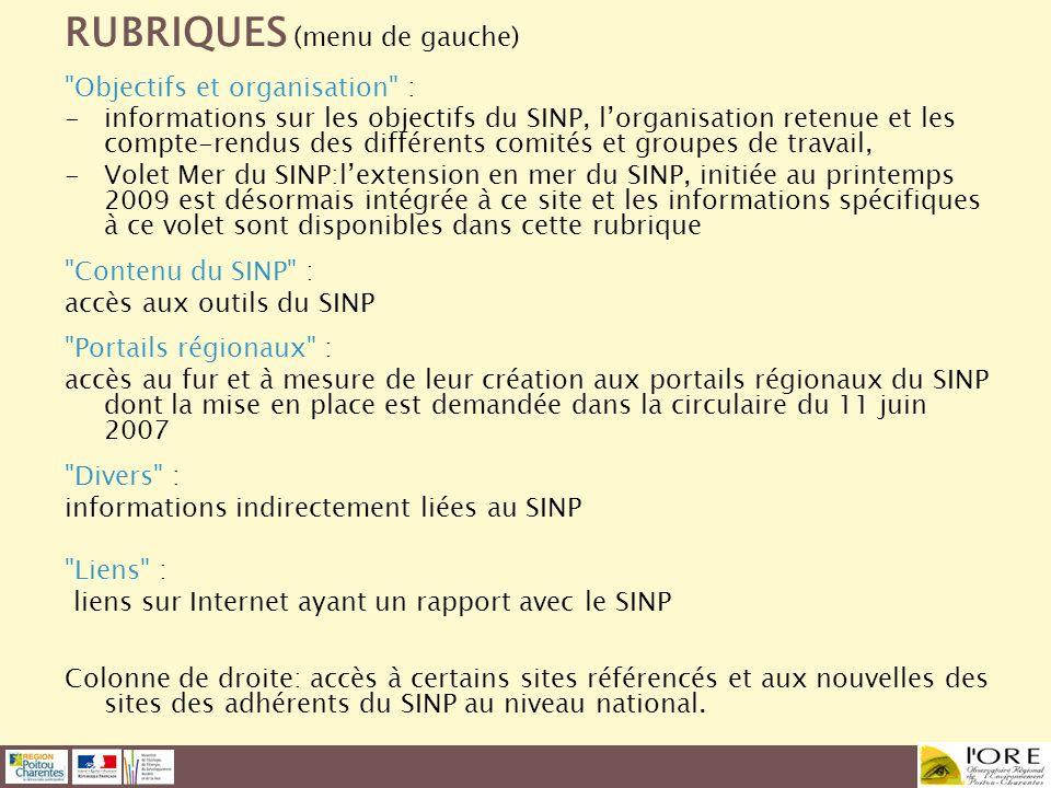 RUBRIQUES (menu de gauche)