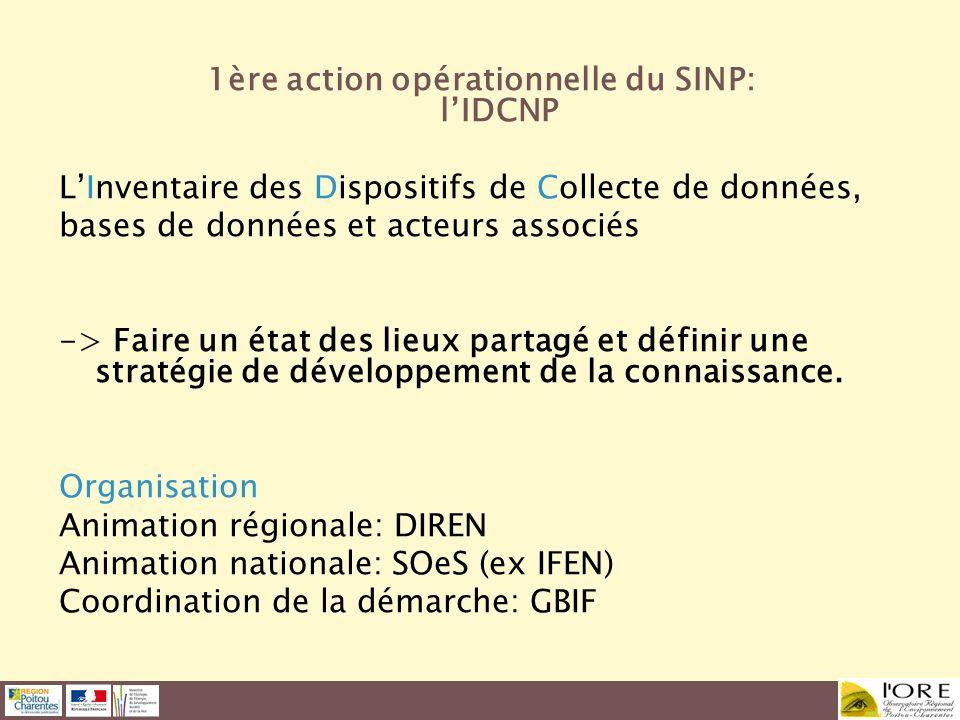1ère action opérationnelle du SINP: l'IDCNP