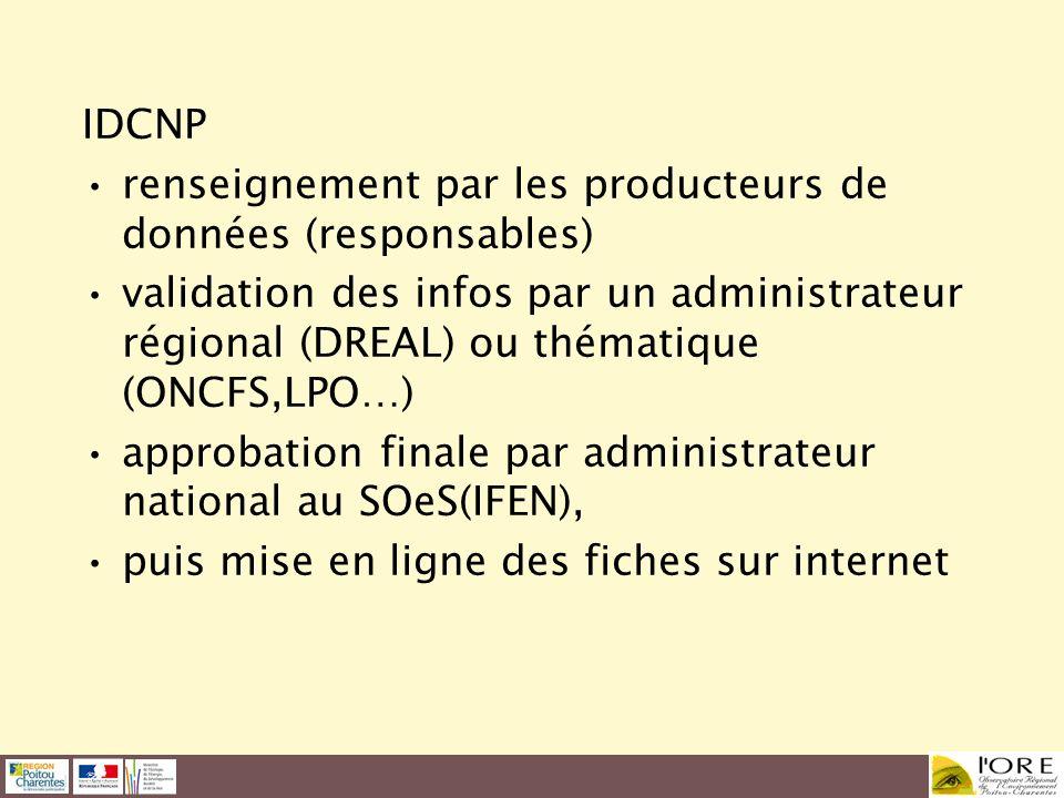 IDCNP renseignement par les producteurs de données (responsables)