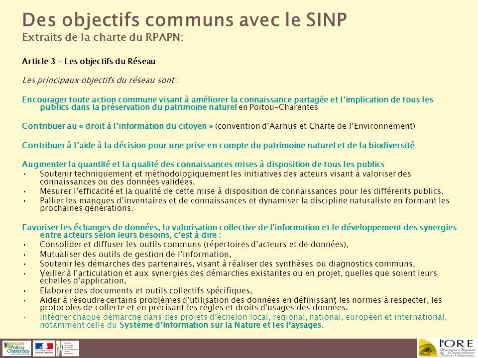 Des objectifs communs avec le SINP
