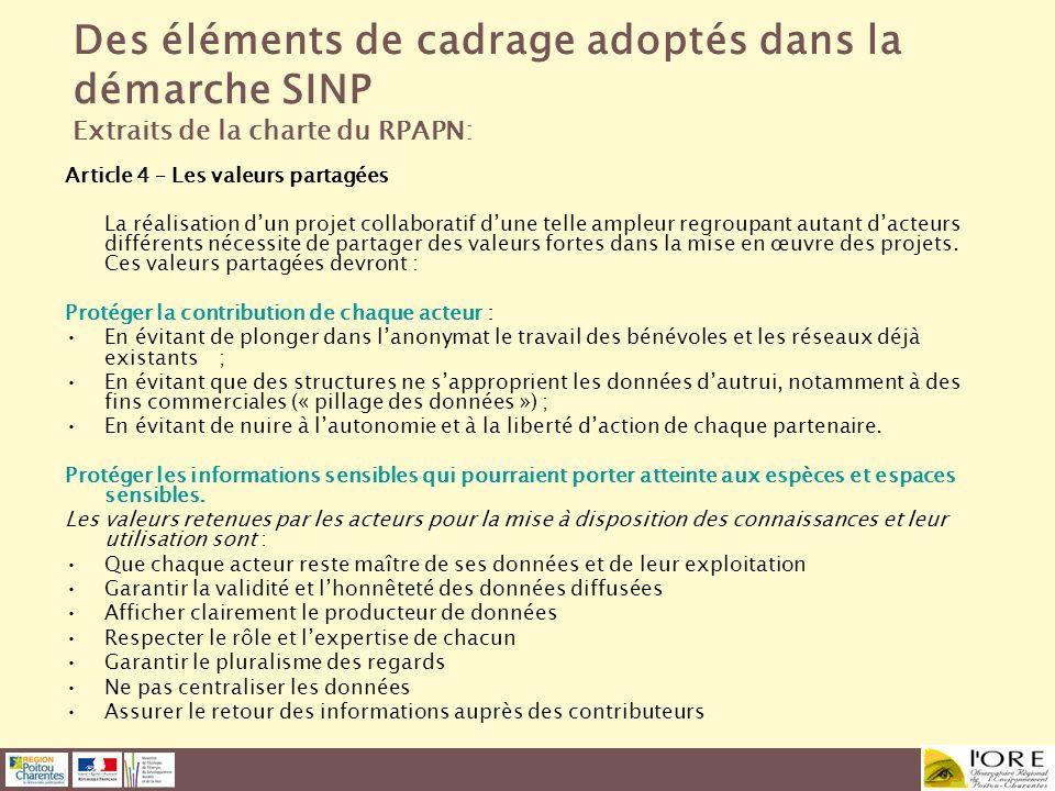 Des éléments de cadrage adoptés dans la démarche SINP