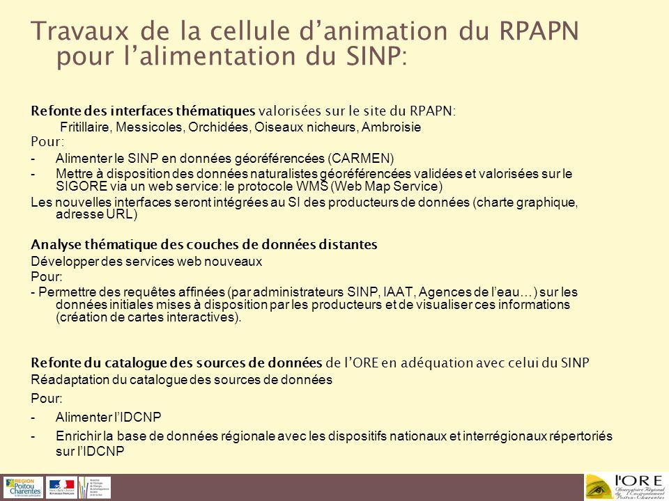 Travaux de la cellule d'animation du RPAPN pour l'alimentation du SINP: