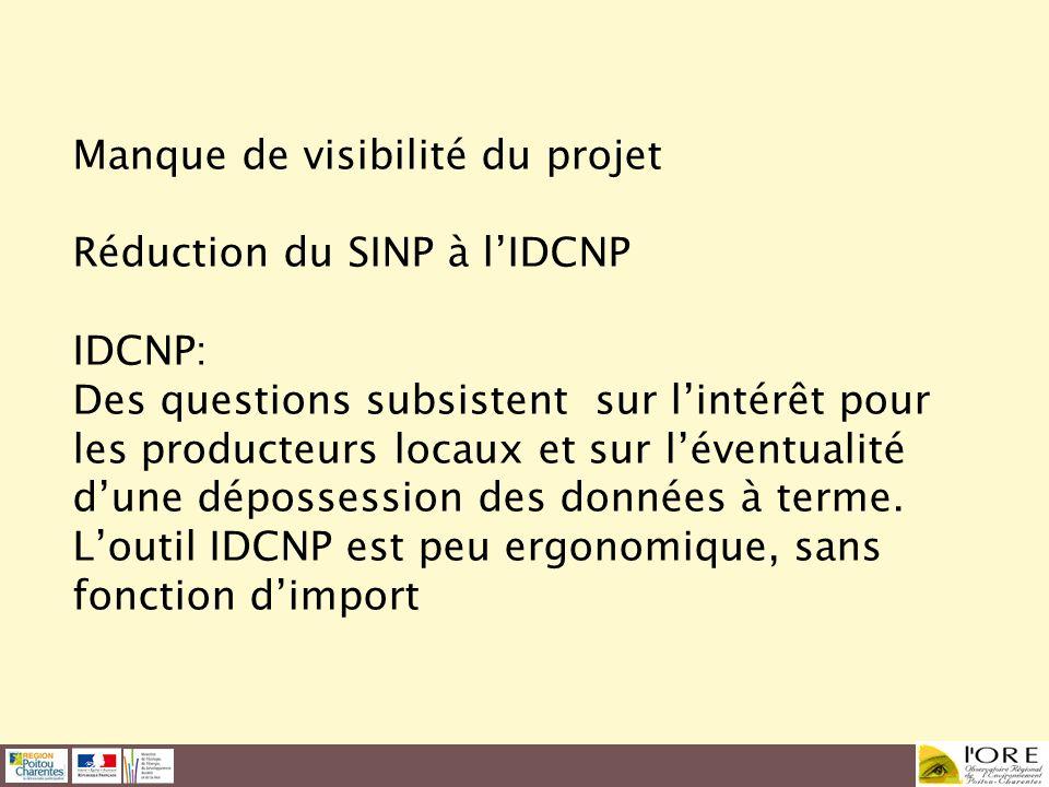Manque de visibilité du projet Réduction du SINP à l'IDCNP IDCNP: Des questions subsistent sur l'intérêt pour les producteurs locaux et sur l'éventualité d'une dépossession des données à terme.
