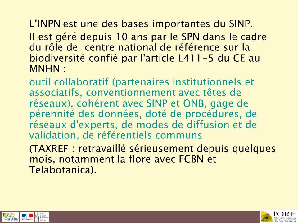 L INPN est une des bases importantes du SINP.