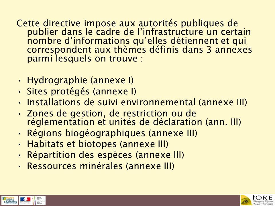Cette directive impose aux autorités publiques de publier dans le cadre de l'infrastructure un certain nombre d'informations qu'elles détiennent et qui correspondent aux thèmes définis dans 3 annexes parmi lesquels on trouve :