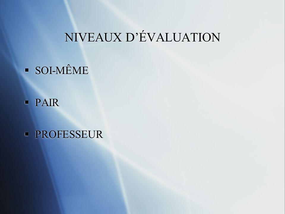 NIVEAUX D'ÉVALUATION SOI-MÊME PAIR PROFESSEUR