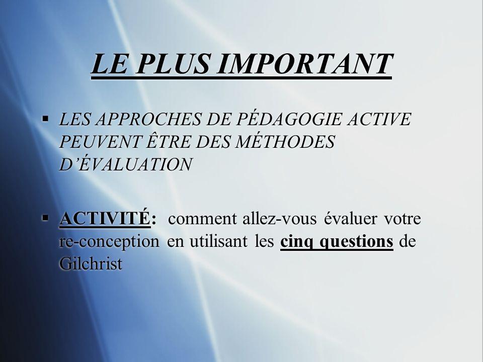 LE PLUS IMPORTANT LES APPROCHES DE PÉDAGOGIE ACTIVE PEUVENT ÊTRE DES MÉTHODES D'ÉVALUATION.