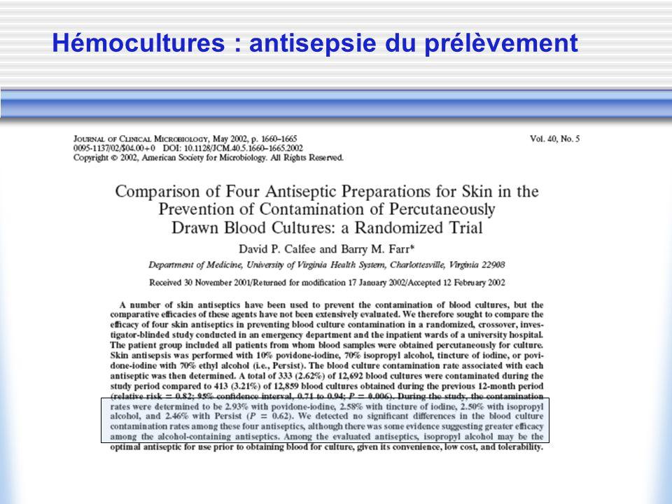 Hémocultures : antisepsie du prélèvement